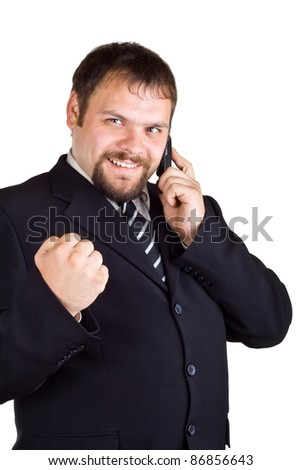 Smiling businessman talking on the phone, isolated on white - stock photo