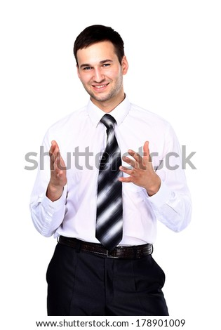 Smiling businessman telling, isolated over white - stock photo