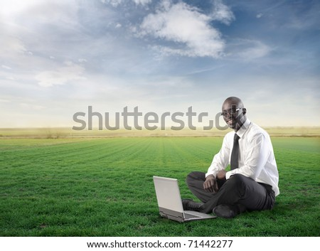 Smiling businessman using a laptop on a green meadow - stock photo