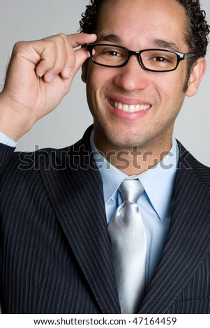 Smiling Businessman Wearing Glasses - stock photo