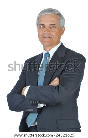 Smiling Businessman With Arms Folded isolated over white - stock photo