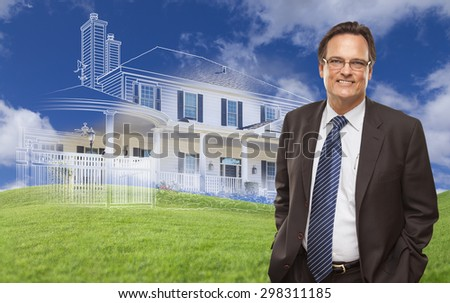 Smiling Businessman with Ghosted House Drawing, Partial Photo and Rolling Green Hills Behind. - stock photo
