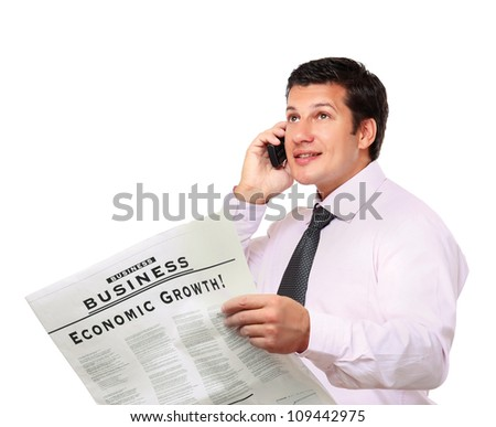 Smiling businessman with newspaper talking on phone isolated on white background - stock photo