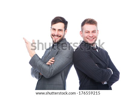 smiling businessmen back to back on white background - stock photo