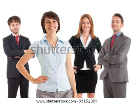 Smiling businesspeople. A beautiful businesswoman is on the front. - stock photo
