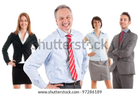 Smiling businesspeople. Their leader is on the front - stock photo