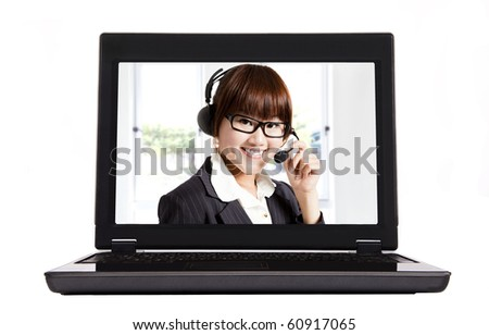 smiling businesswoman and internet call center - stock photo