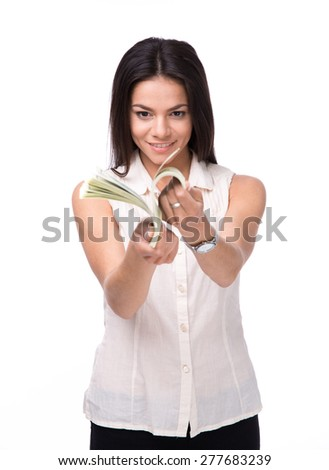 Smiling businesswoman counting money isolated on a white background. Wearing in shirt  - stock photo