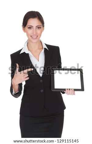 Smiling Businesswoman Holding Digital Tablet. Isolated On White - stock photo
