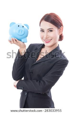 Smiling businesswoman holding piggy bank isolated on white background - stock photo