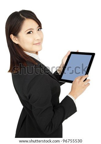smiling  businesswoman holding tablet  computer and isolated on white - stock photo