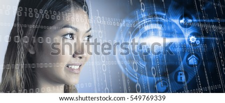 Smiling businesswoman looking away against black technology interface with glow