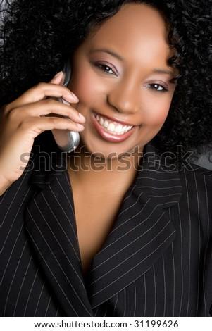 Smiling Businesswoman on Phone - stock photo