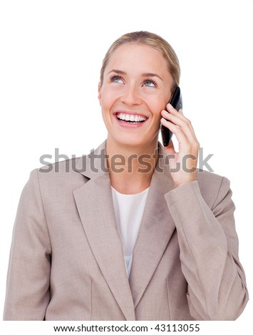 Smiling businesswoman on phone looking up isolated on a white background