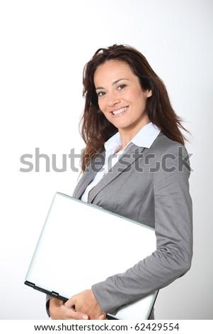 Smiling businesswoman on white background - stock photo