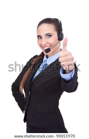 Smiling businesswoman operator showing thumb up, isolated on white background