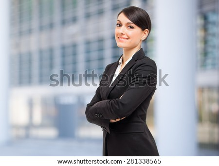 Smiling businesswoman outdoor  - stock photo