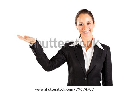 smiling businesswoman presenting on white