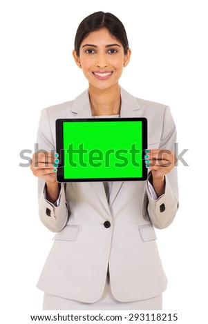 smiling businesswoman presenting tablet computer screen on white background - stock photo