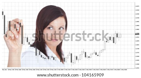 smiling businesswoman touching forex chart over white background. focus on hand - stock photo