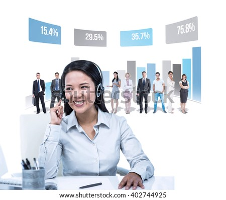 Smiling businesswoman using headset against graph - stock photo