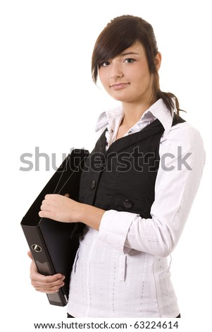 Smiling businesswoman with files - stock photo