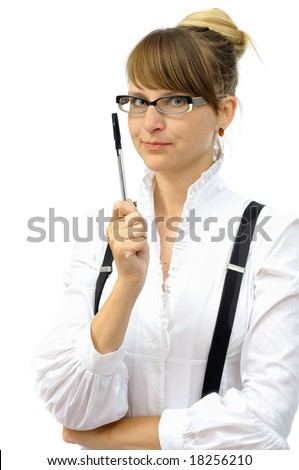 Smiling businesswoman with pen, isolated on white - stock photo