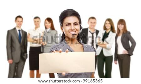 Smiling call center - stock photo