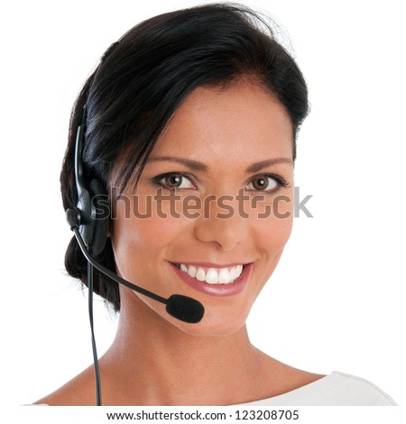 Smiling call center young woman ready for support and contact, isolated on white background - stock photo