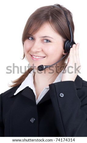 smiling call center young woman with a headset - stock photo