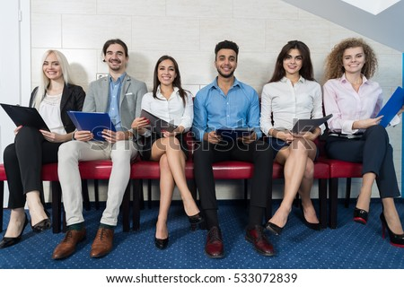Smiling Candidates Wait For Job Interview  Mix Race Business People Sitting  In Line Human Resources. Candid Stock Images  Royalty Free Images   Vectors   Shutterstock