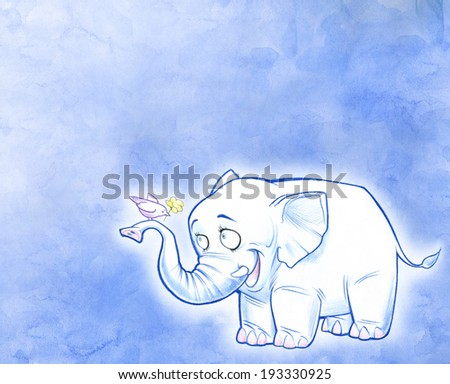 Smiling cartoon elephant - stock photo