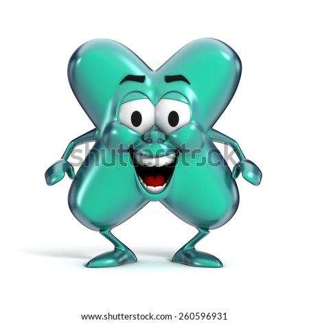 smiling cartoon font letter X - stock photo