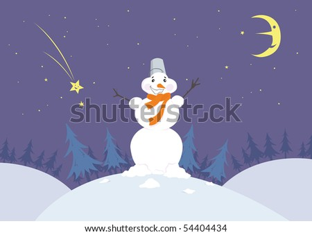 Smiling cartoon snowman in the night forest with moon and stars.