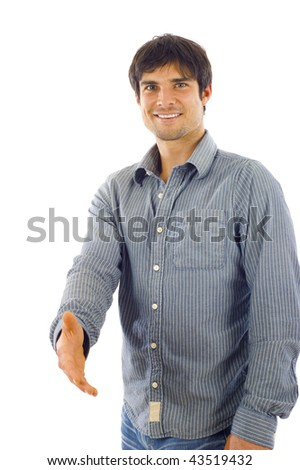 Smiling casual businessman  giving a handshake isolated over white