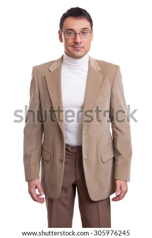 smiling casual businessman wearing glasses isolated on white - stock photo