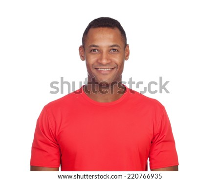 Smiling casual latin man isolated on a white background - stock photo