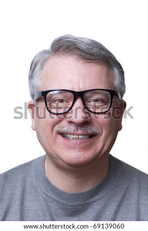 Smiling casual man, wearing eyeglasses. Isolated on white