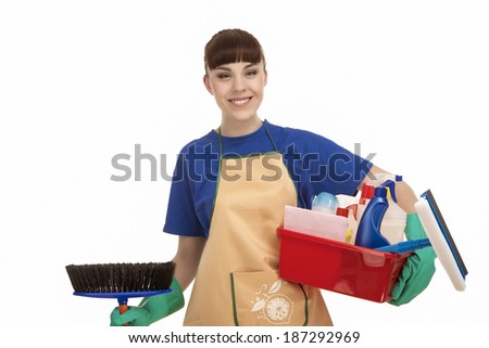 Smiling Caucasian Female Servant With Cleaning Accessories. isolated Over White. Horizontal Image - stock photo