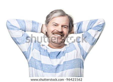 smiling cheerful mature man isolated on white background