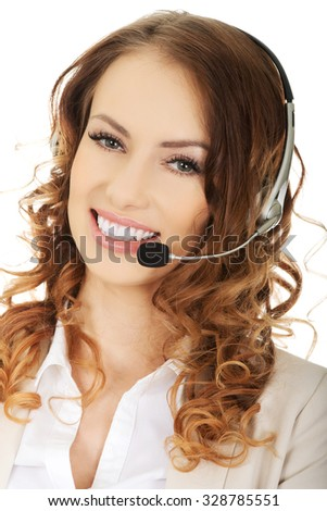 Smiling cheerful support phone operator in headset. - stock photo