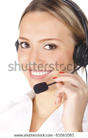 smiling cheerful support phone operator in headset, isolated on white background - stock photo
