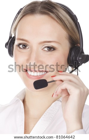 smiling cheerful support phone operator in headset, isolated on white background. - stock photo