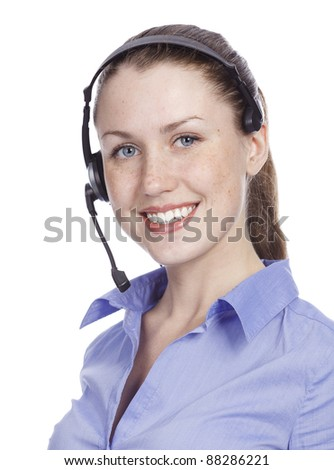 smiling cheerful support phone operator, isolated on white background - stock photo