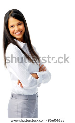 Smiling cheerful woman with her arms crossed, isolated on white - stock photo
