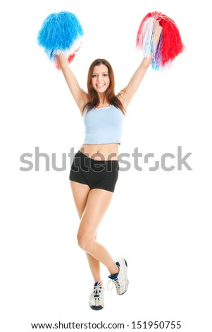 Smiling cheerleader girl posing with pom poms. Isolated on white