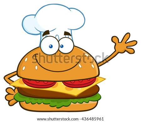 Smiling Chef Burger Cartoon Mascot Character Waving For Greeting. Raster Illustration Isolated On White Background - stock photo