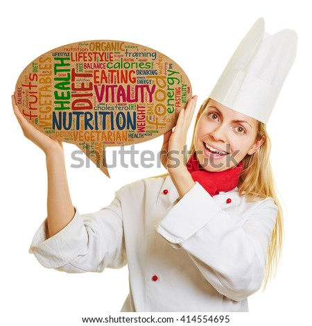 Smiling chef cook with concept for healty diet and nutrition in a speech bubble - stock photo