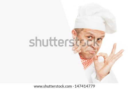 Smiling chef holding info board, isolated on white background - stock photo