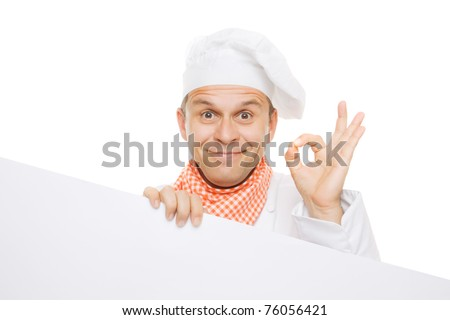 Smiling chef holding info board isolated on white background - stock photo